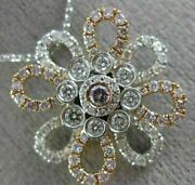 Estate 1.05ct White And Pink Diamond 18k 2 Tone Gold 3d Flower By The Yard Pendant