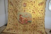 Unique Curtain Antique Italian Painted Silk Moire Wall Hanging Textile 90x94inch