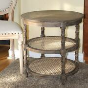 Three Tier Round Wood Side Table With Cane Rattan Country Farm Style