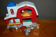 Fisher Price Little People Barn Blue Roof Animals Sheep Cow Horse Cart Sounds