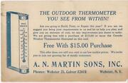 A N Martin Sons Outside Window Outdoor Thermometer Vintage 1938 Postcard