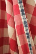Check Fabric Antique French Vichy Bed Curtain Country Red And White 107x98 Inches