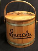 Vintage Hand Painted Snack Bucket By Woodcroftery Made In The Usa