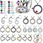 Charms Locket Family Living Crystal Round Glass Floating Memory Necklace Chain