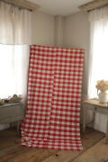 Antique French Vichy Check Fabric Red And Pink 1880s Timeworn Cotton Cloth Textile