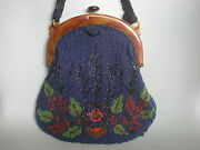 Antique Beaded Bag Floral Hand Made Victorian Silk Lined Old Purse