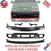 Front Bumper Primed W/ Brackets + Lower + Valance For 04-12 Colorado / Canyon