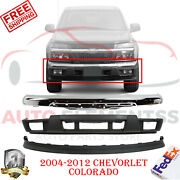 Front Chrome Steel Bumper + Valance + Low Cover For 04-2012 Colorado Canyon 3pcs