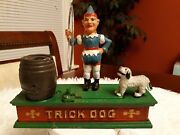 Vintage Cast Iron Trick Dog And Circus Clown Mechanical Coin Bank