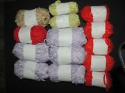 Large Lot Ribbon Yarn Crochet Knit Purple Red Beige And Green About 3 Lbs 14 Skein