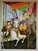 J. Roybal Signed Large Oil On Canvas Painting - Children On Carousel 48 X 36