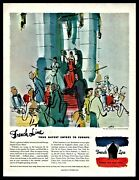1949 French Line Cruise Ship Ile De France Jean Pages Art Ocean Liner Travel Ad
