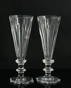 2x An Antique, 19th C. Faceted Crystal Flute - Champagne Glass, 1820-1840