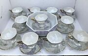 Set 11 Pearlized China Teacup And Saucer Opalescent Purple Green Gold W/bowl
