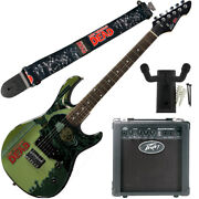 Peavey Walking Dead Michonne Splash Guitar With 6 Amp Group Strap And Hanger