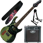 Peavey Walking Dead Michonne Splash Guitar With 6 Amp Purple Strap And Stand