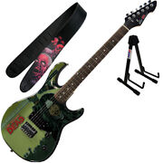 Peavey Walking Dead Michonne Splash Guitar With Purple Strap And Stand
