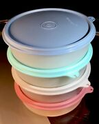 Tupperware Vintage New Osset 4 Cereal/ Salad Bowls With Classic Pastel Seals