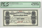 1908 Newfoundland Cash Note Nf-3hs Andcent.50 Note Sn 00000 Pcgs Specimen 67 Ppq