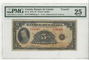 1935 Banque Du Canada Bc-6, 5 Osb/tow, Sn F346488 French Pmg Vf-25 French
