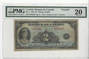 1935 Banque Du Canada Bc-4 2 Osb/tow Sn F 063057 Pmg Vf-20 French