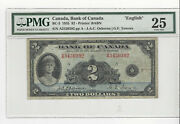 1935 Bank Of Canada Bc-3, 2 Osb/tow Sn A3430392 Pmg Vf-25 English