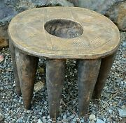 Rare Antique African Nupe Tribe Round Wooden Stool W Carved Bowl Nigeria Africa