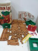 Original Wooden Lincoln Logs Frontier Fort Not Complete Set Missing People Canoe