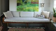 Mid Century Beige Woven Couch Sofa Walnut Frame