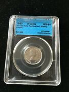 1953 Sf/nl Missing Chrome Cccs Graded Ms-64 Canadian Five Cent L Leaf Touching