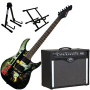 Peavey Bandit Amp And Walking Dead Wrap Cover Guitar With Amp And Guitar Stands