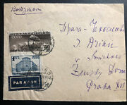 1937 Moscow Russia Ussr Arimail Cover To Prague Czechoslovakia Zeppelin Stamp