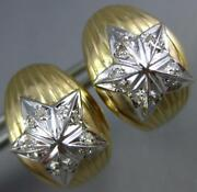 Estate Wide .22ct Diamond 14kt White And Yellow Gold 3d Star Clip On Earrings