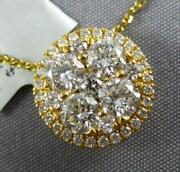 Large 1.0ct Diamond 18kt Yellow Gold Cluster Flower Invisible Floating Pendant