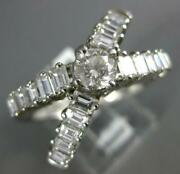 Large 2.10ct Diamond 14k White Gold Round And Baguette Criss Cross Engagement Ring
