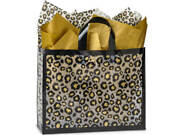 Leopard Safari Plastic Vogue Size Frosted Gift Bag Choose Tissue And Pack Amount