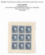 India Sirmoor State 1a Revenue Unadopted Colour Waterlow And Sons Proof Sheet