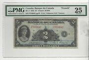 1935 Banque Du Canada Bc-4, 2 Osb/tow Sn F 510042 Pmg Vf-25 French