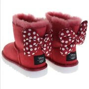 New Ugg Disney Red Suede Kids Sweetie Bow Girls Youth Designer Boots Us 2 Eu 32