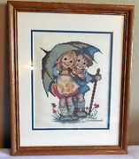 Finished Counted Cross Stitch Hummel Kids Under Umbrella Frame Glass Completed