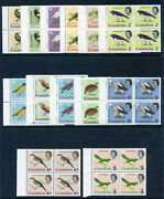 Gambia 1963 Qeii Birds Set Complete In Blocks Of Four Mnh. Sg 193-205 Sc 175-187