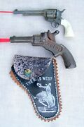 2 Small Toy American Old Single Shot Cowboy Cap Pistols1 With Holster Free S/h