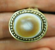 Antique Yellow Eye Agate Evil Goat Seeing Protection Eye Sterling Silver Ring