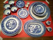 Blue Willow China Dishes Vintage 31pcs