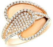 Wide 1.0ct Diamond 18kt Rose Gold Matte And Shiny Multi Leaf Criss Cross Fun Ring