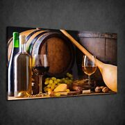 Vintage Winery Bottles Cheese Kitchen Design Box Canvas Print Wall Art Picture