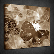 Abstract Sepia Brown Butterflies Box Canvas Print Wall Art Picture