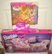 7524 Mattel Secret Hearts Barbie And Ken Dolls And Foreign Crystal Horse And Carriage