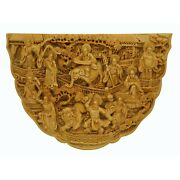 Quality Carved Bamboo Birdcage Base Panel - 18 Arhats, Lion And Elephant N392