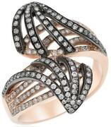 Large .85ct Diamond 14k Black And Rose Gold Multi Row Double Leaf Criss Cross Ring